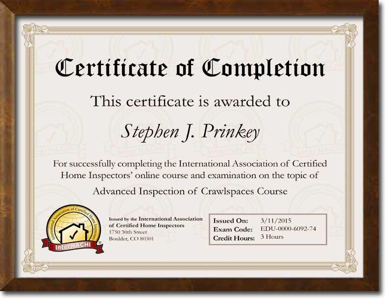 Certified Crawlspace Inspector Certificate.