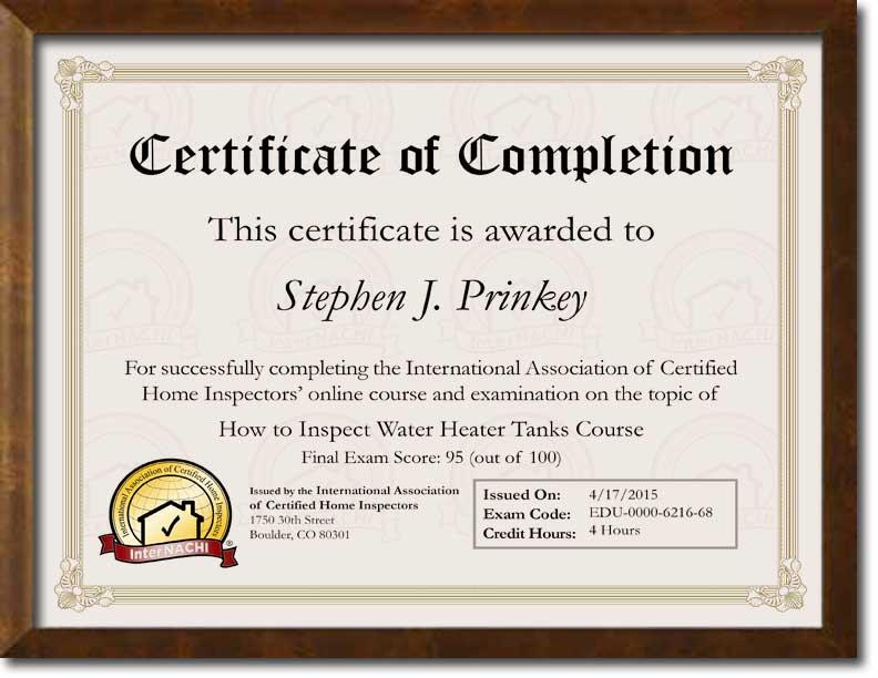 Certified Hot Water Hater Inspector Certificate.