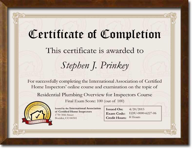 Certified Plumbing Inspector Certificate.