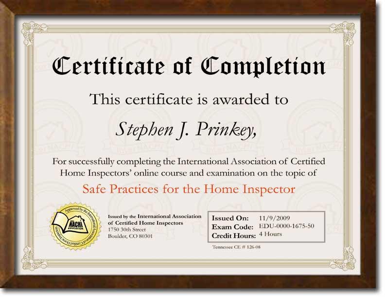 Certified Safe Inspector Certificate.