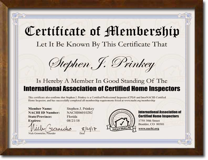 InterNACHI Certified Professional Home Inspector In Florida